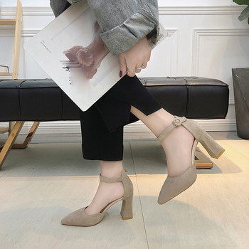 New Fashion Sandals Women's High Heels Shoes Pointed Toe Shallow Mouth Shoes Summer Thick Heel One Word Buckle Sandals Female