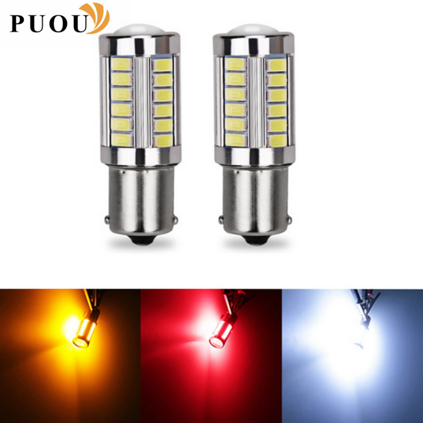 Universal 2pcs 1156 BAU15S <font><b>PY21W</b></font> 7507 <font><b>LED</b></font> Bulbs For Cars Turn Signal Lights Amber/<font><b>Orange</b></font> Lighting White Red Blue 5630 33SMD image