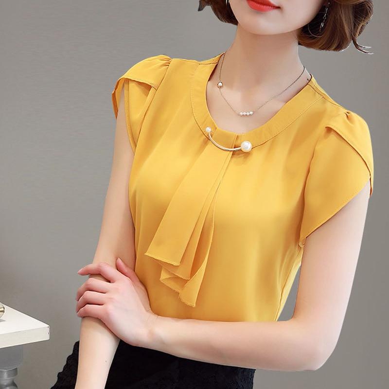 Summer Blouse Women Chiffon Shirt Office Work Slim Tops Short Sleeve Shirts Korean Bow Neck Ruffle Yellow Red Blouses Blusas