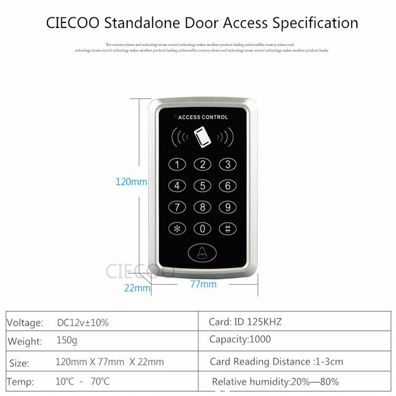 ФОТО Waterproof standalone keypad  RFID  touch keypad Standalone door access controller with keypad