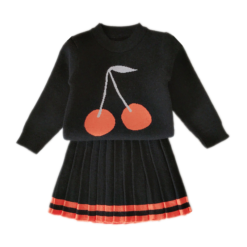 2 to 6 year baby & kids girls cherry print knitted pullover sweater with pleated skirts child girl fashion casual two pieces set