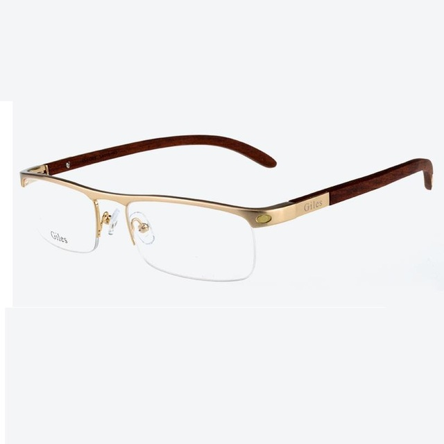 121a641640 Vazrobe Custom-make Gold Wood Glasses Frame Men Wooden Temple+alloy Rim  Prescription Spectacles