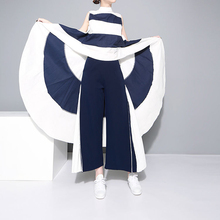 TITOTATO 2018 summer long trousers women mosaic pleated wide leg pants chiffon skirt nine black pantalon femme