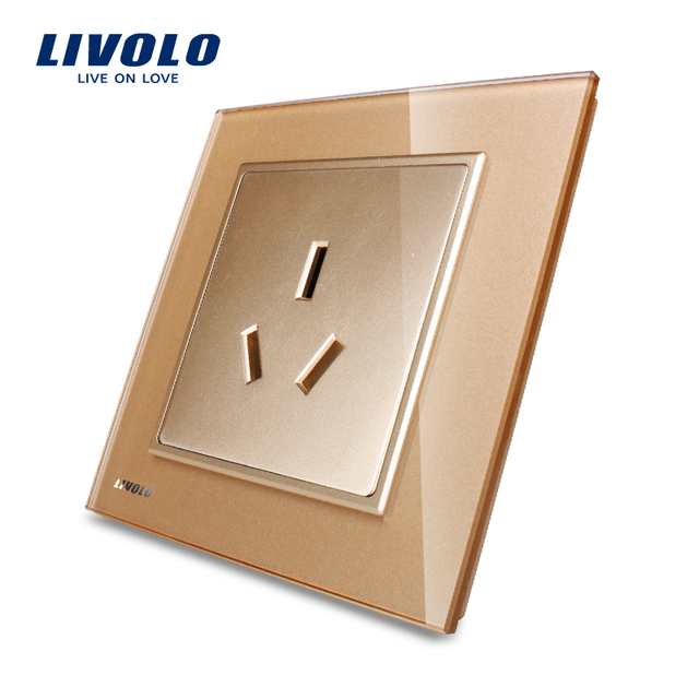 Free Shipping, Manufacture Livolo, 100% New Style, Socket and Plug, Luxury Crystal Glass Three-pin Socket, VL-W2C1B-13