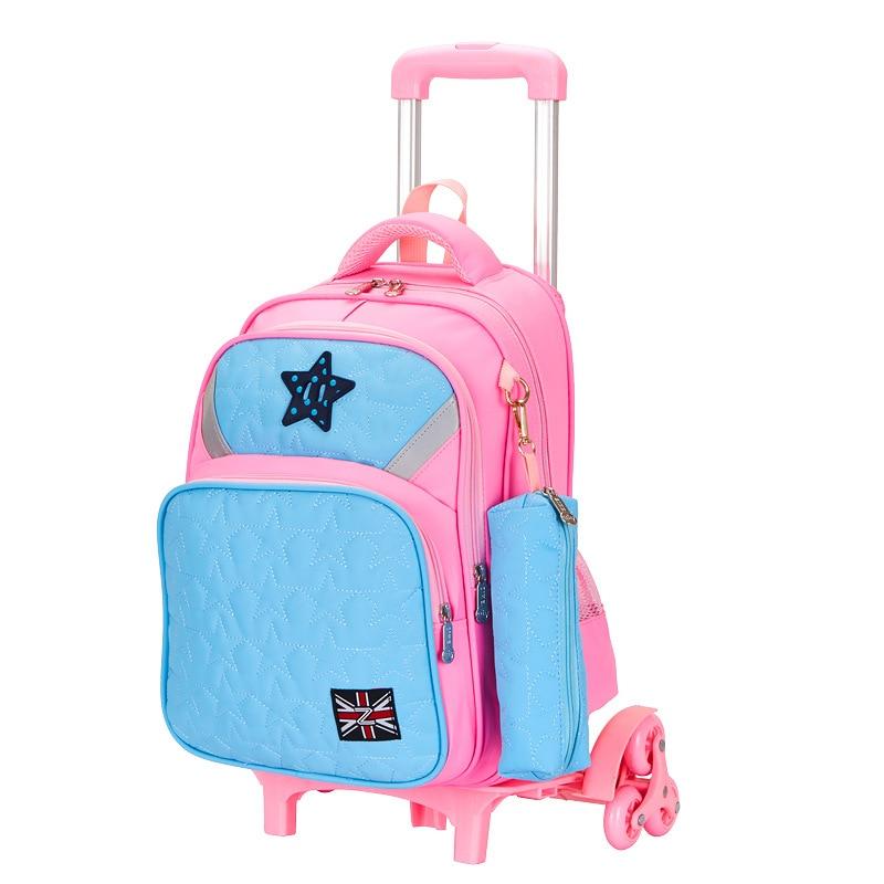 d0a78d9e1 2018 equipaje desmontable 6-12 años estuche para lápices de dibujos animados  bolso escolar estudiantes rueda de Flash maleta niños mochila de viaje