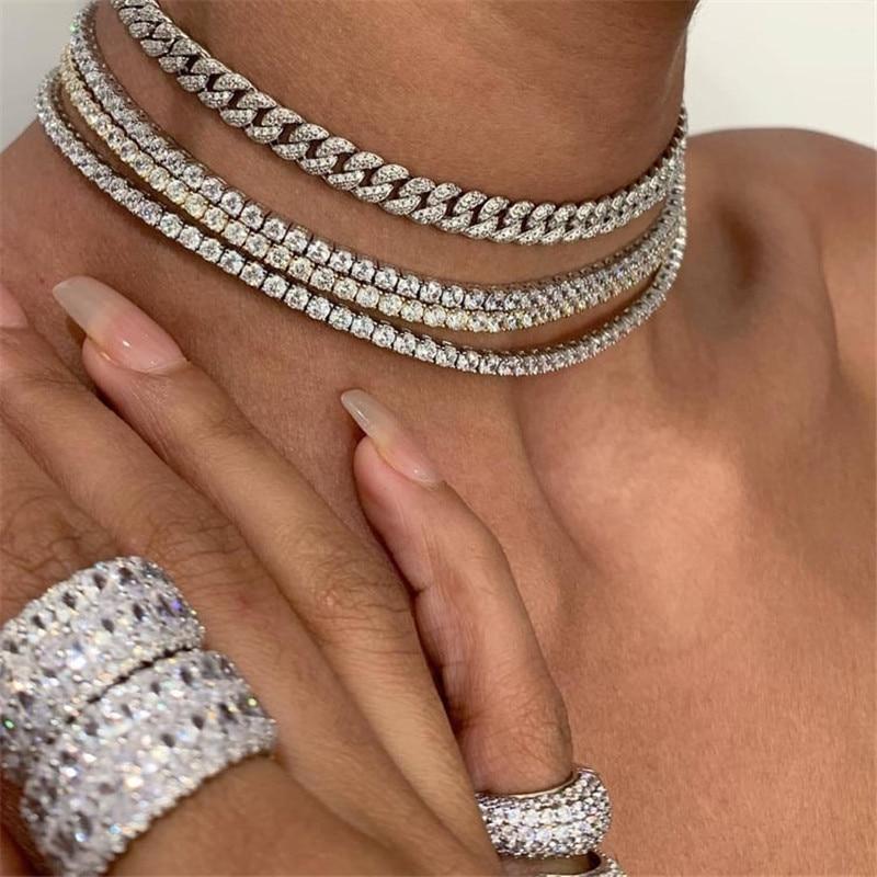 Choucong luxe Tennis collier 4mm AAAAA Cz couleur argent chaîne fête mariage collier pour femmes hommes mode Hiphop bijoux cadeau