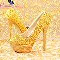 Oro rhinestone bombas tacones altos zapatos de las mujeres de novia zapatos de rendimiento bombas punta redonda tacones finos zapatos de Oro venta de hot-bombas
