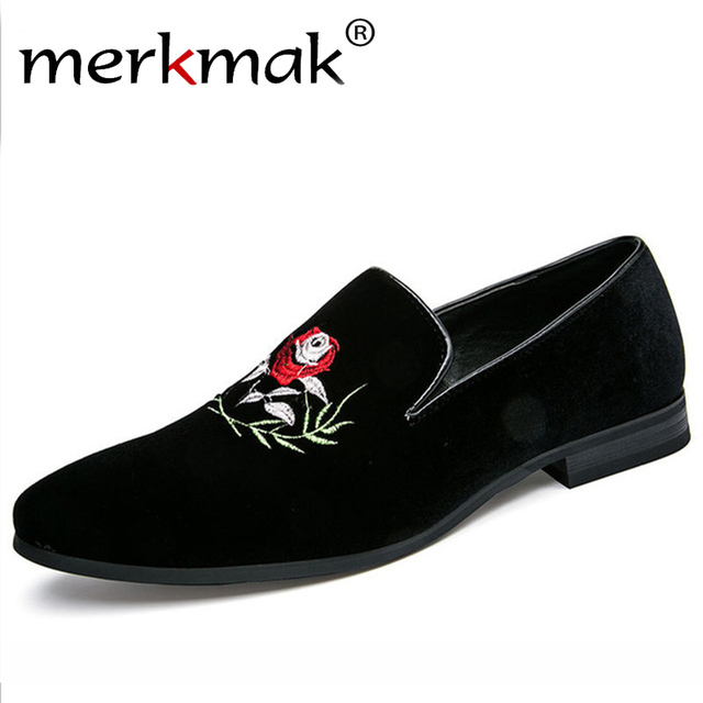 3946aa020f4 Merkmak Italy Fashion Design Men Loafers Rose Flower Embroidery Men Leather Shoes  Mens Casual Flat Loafer Party Wedding Shoes