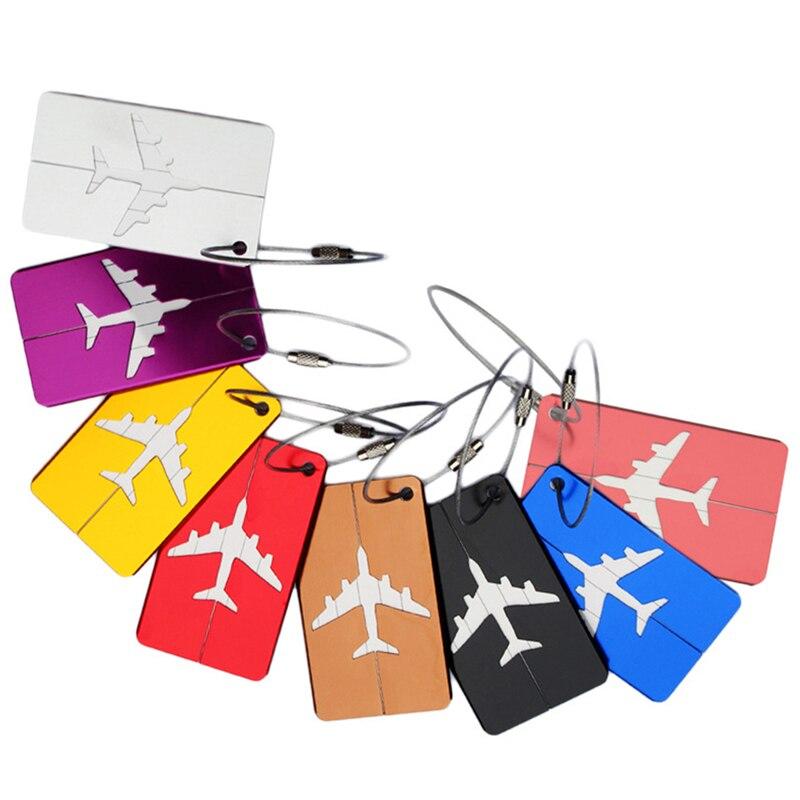 5PCS Rectangle Aluminium Alloy Luggage Tags Baggage Name Tags Suitcase Address Label Holder