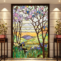 European Church Mosaic Art Glass Film Stained Window Opaque Sticker Self Adhesive Static Cling Decor Privacy