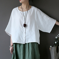 100 Linen Chinese Style Solid Red White Black Women Blouse Shirt Summer Causal Vintage Linen Shirt