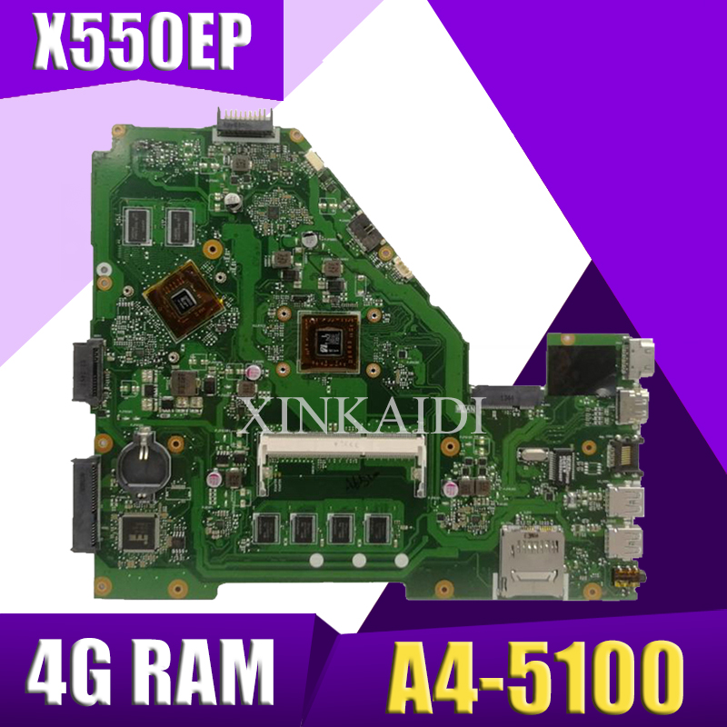 XinKaidi  X550EP Laptop motherboard for ASUS X550EP X550E X552E Test original mainboard 4G RAM A4-5100XinKaidi  X550EP Laptop motherboard for ASUS X550EP X550E X552E Test original mainboard 4G RAM A4-5100