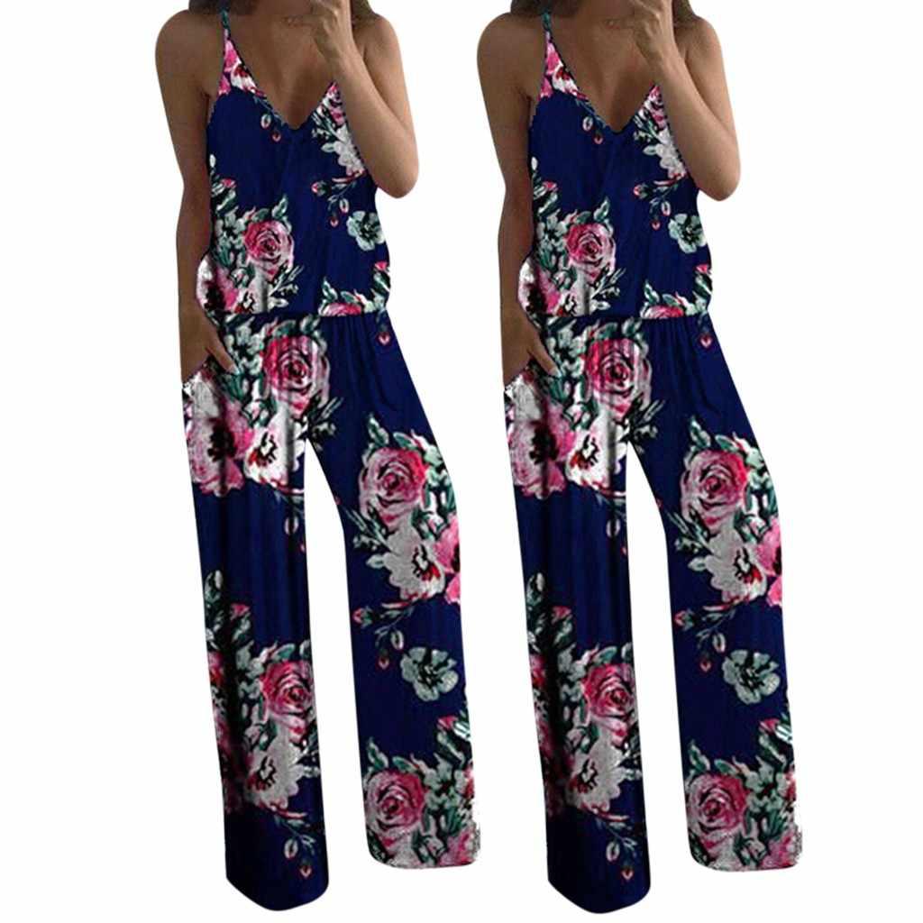 Womail bodysuit Mulheres moda Sem Mangas Sexy Impresso Playsuit V-pescoço Longo Senhoras Jumpsuit Romper férias Férias 2019 J612