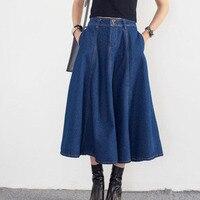2017 New Retro Women Large Size Cowboy SkirtS Large Size Umbrella LONG Denim Skirt