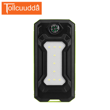 10000 mAh Tollcuudda Solaire Banque Dual Power USB Sports de Plein Air Batterie Externe Portable Chargeur Avec LED Éclairage poverbank