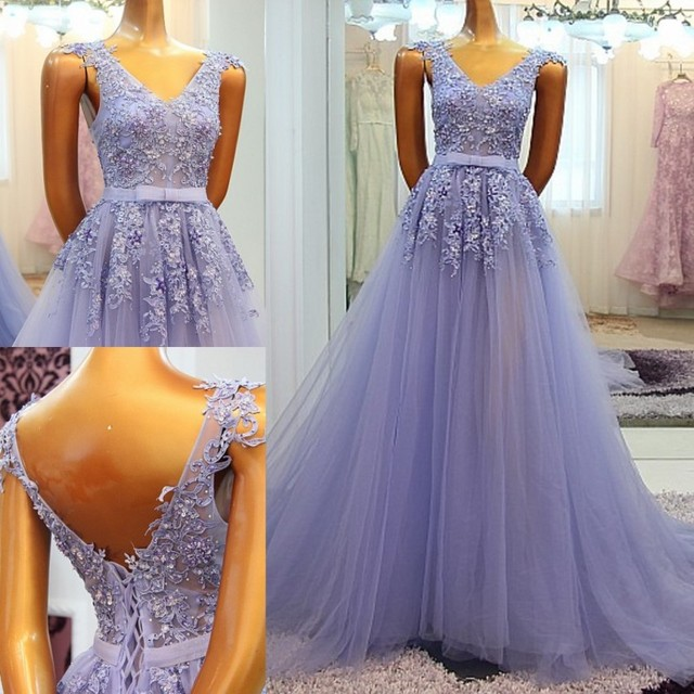 Long Prom Dresses 2017 Sparkly Appliqued Beaded Sequins Light Purple