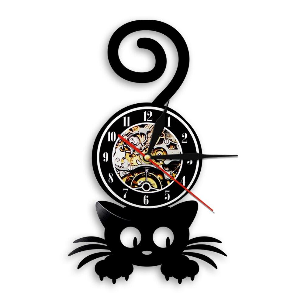 3D Kit-Cat Clock Black Kitty-Cat Wall Clock Tail Move Cute Home Decor Xmas Gift