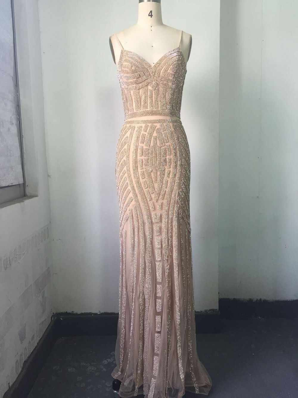 ... In Stock Mermaid Evening Dresses Crystal Beads Formal Party Gowns with Spaghetti  Strap Long robe de ... cca7aa5db3b8