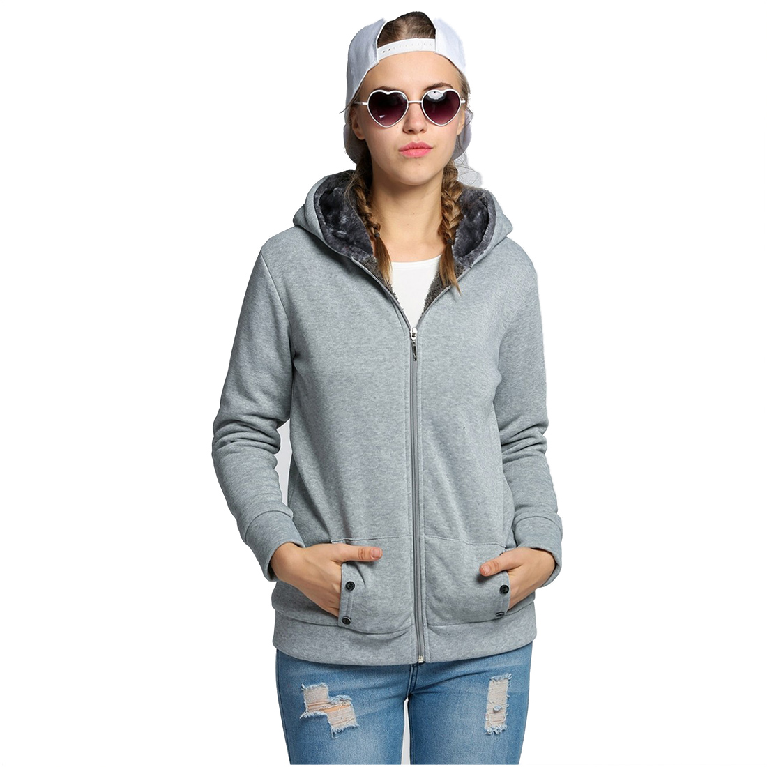 TKOH Womens Hoodies Warm Fleece Cotton Coat Zipper Outerwear Sweatshirts