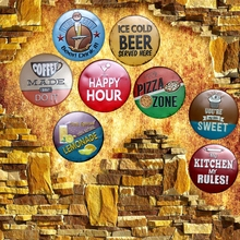 Beer Coffee  Irregular Round Tin Signs Vintage Plaque Metal Wall Cafe Garage Pub Home Restaurant Art Decor 30CM U-7