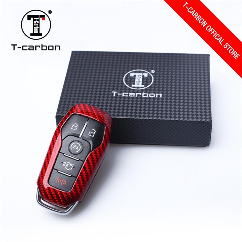 Remote Carbon Fiber Car Key Case Key Holder Trim For Ford F150 F-150 2016-2017
