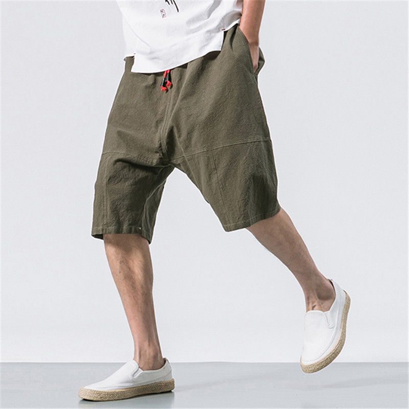 5XL Mens Shorts Breathable Cotton Linen Solid Knee Length Baggy Loose Elastic Waist Drawstring Casual Loose Summer Male Clothes