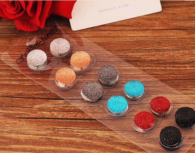 6 PCS New arrival fashion colorful round rhinestone magnet brooch pin crystal hijab pins, free shipping