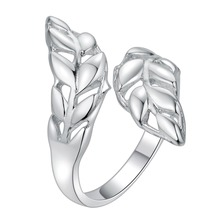 delicate leaf open Silver plated Ring Fashion Jewerly Ring Women&Men , /LYXDAOCM NOZGTCHD