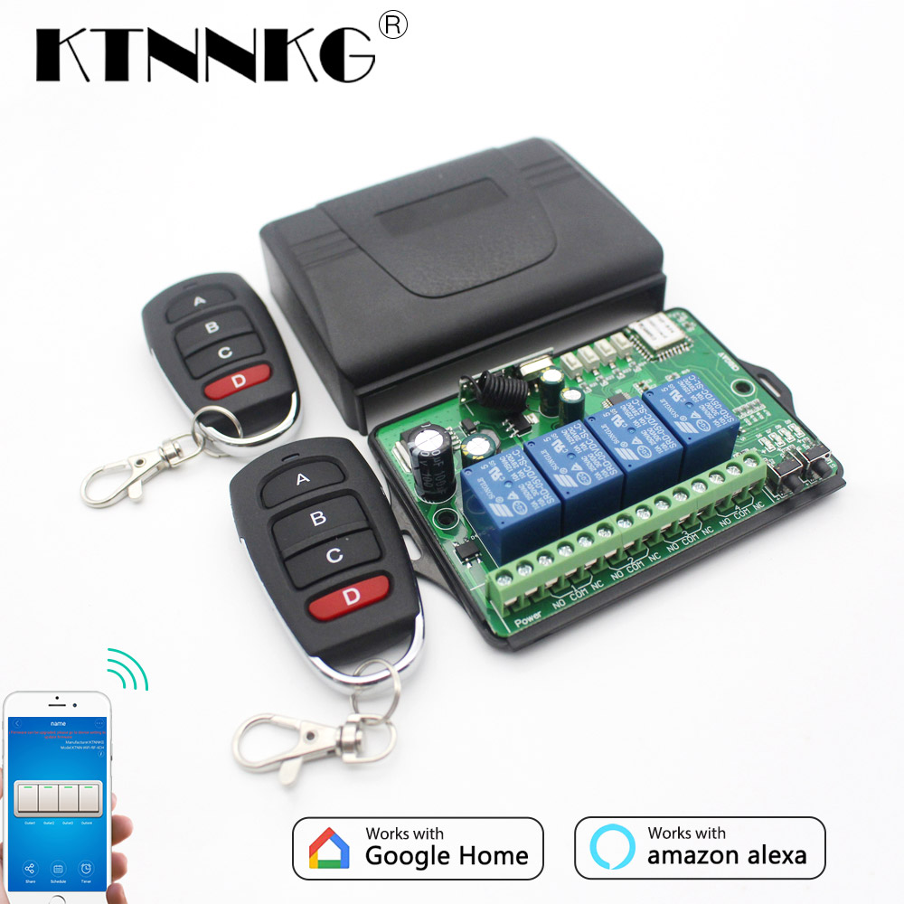 KTNNKG AC DC 7V 36V 4CH WiFi Remote switch Wireless universal garage door receiver and 2/4 Pcs Ev1527 433MHz RF Remote Controls