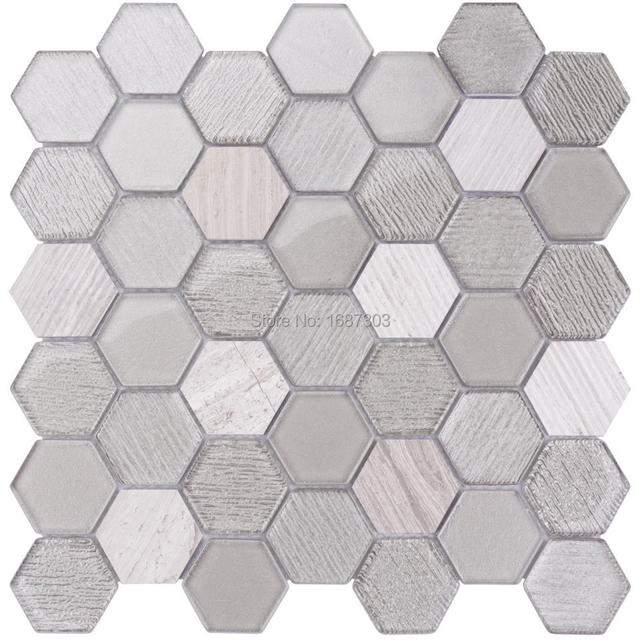 Home decor hexagonale verre mixte marbre salle de bains for Carrelage hexagonal marbre