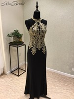 Vestido Longo New Black Prom Dresses 2018 High Neck Sleeveless Floor Length Appliques Chiffon Evening Dresses