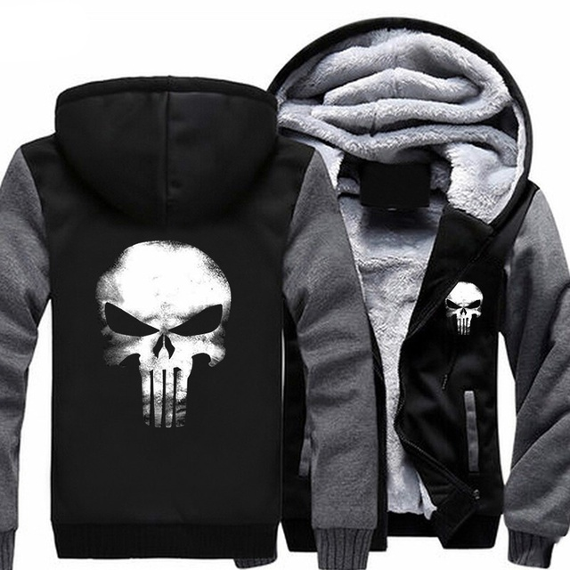 a4e37c15e0f3de The Punishing Skull 2018 Punisher Skull Cosplay Coat Zipper Hoodie Winter  Fleece Unisex Thicken Jacket Sweatshirts