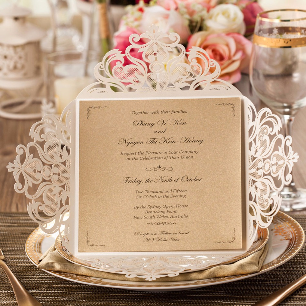 Laser Cut Wedding Invitations Cards Kit Square Lace Flower For