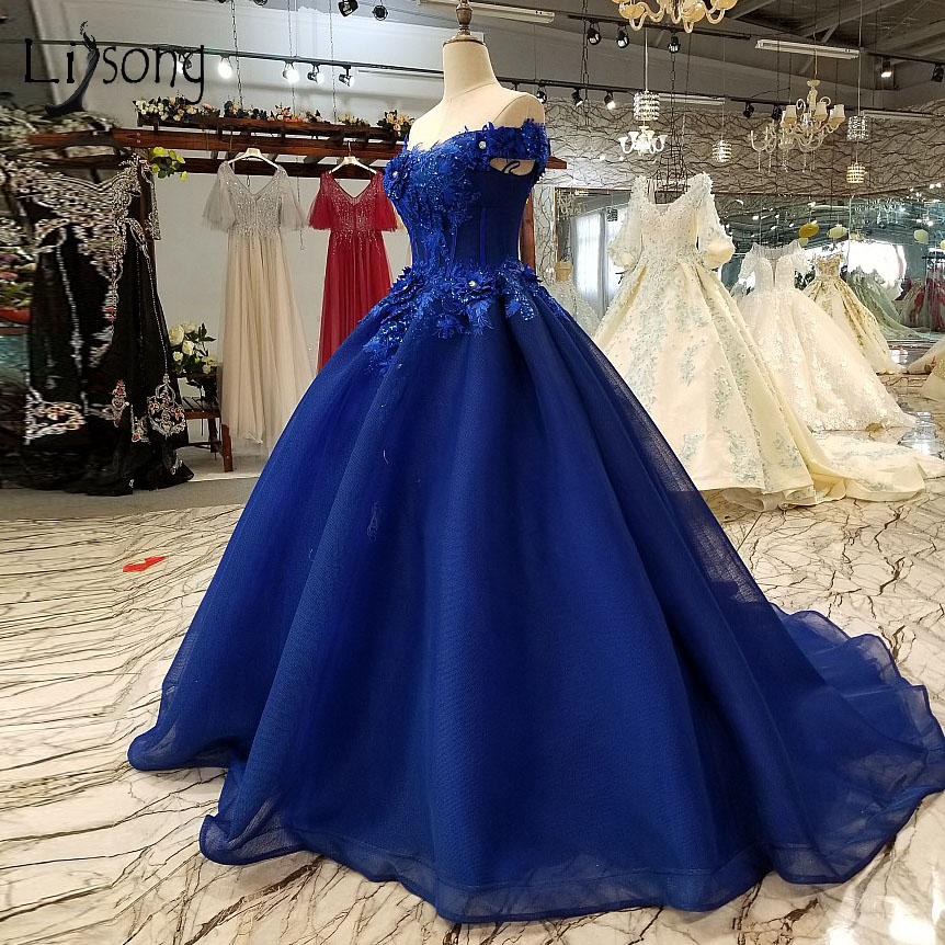 Vintage Royal Blue Evening Dresses With 3D Flower 2018 Crystal Lace Long Prom Gowns Abendkleider Beaded Party Dress Robe Longue