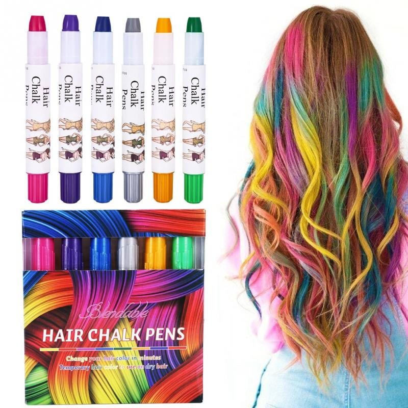 שיער גיר, 6 צבעים נייד שיער גיר זמני שיער עפרון סט