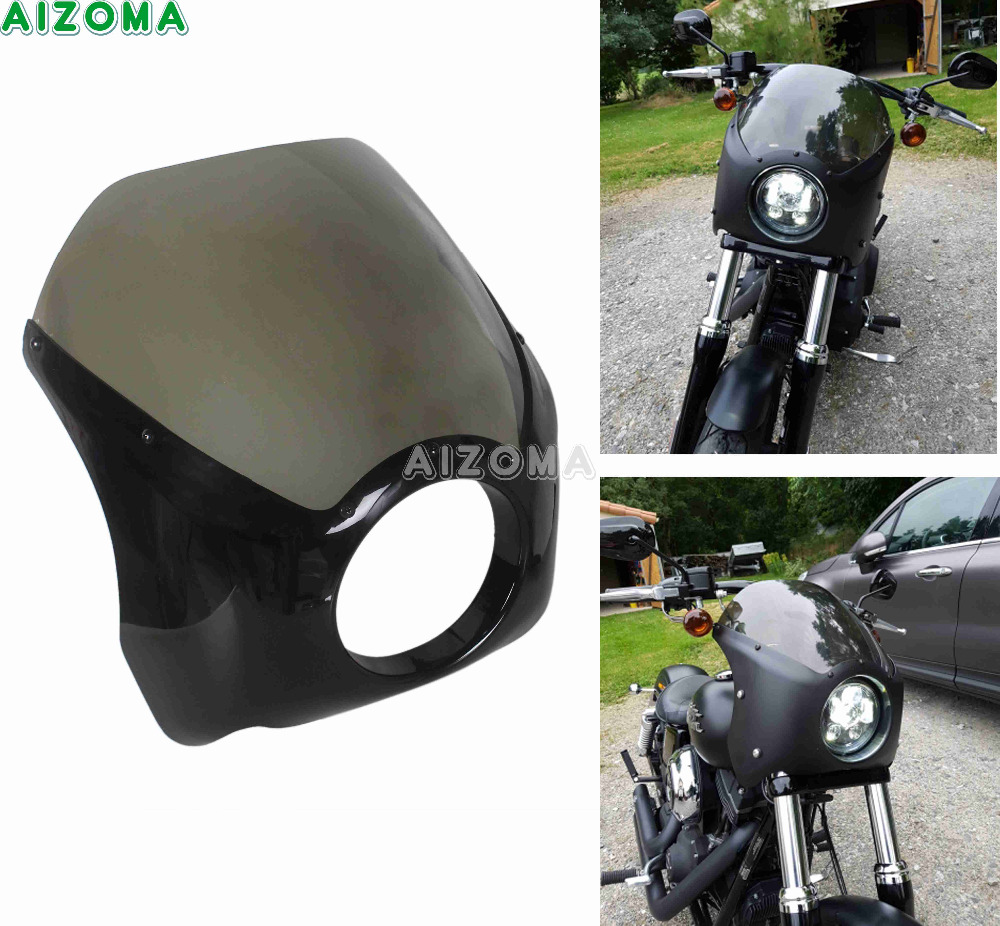 Sturdy ABS 5.75 Motorcycles Glide Headlight Fairing Windshield Cover For Harley Harley Dyna Softail Sportster 48 Headlamp Cowl black headlight grill cover for harley sportster xl883 1200 04 up softail cover headlight covers 5 3 4