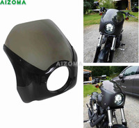 Sturdy ABS 5.75 Motorcycles Glide Headlight Fairing Windshield Cover For Harley Harley Dyna Softail Sportster 48 Headlamp Cowl