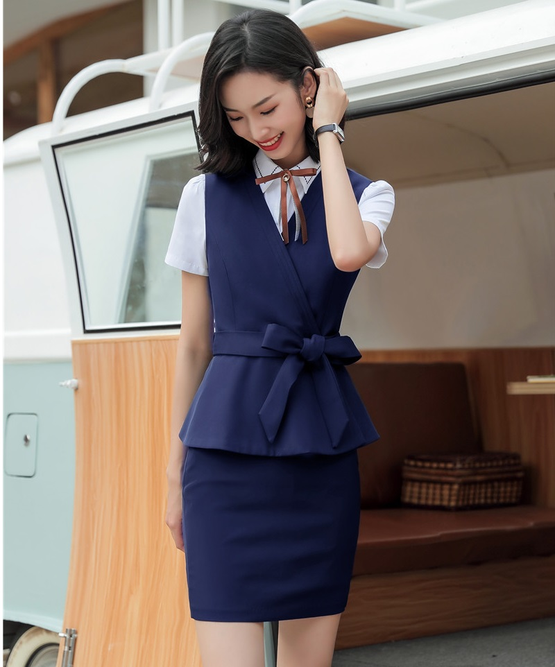 Formal Women Business Suits With 2 Piece Sets Tops And Skirt Ladies Vest Coat & Waistcoat 2019 Spring Summer OL Styles Blazers