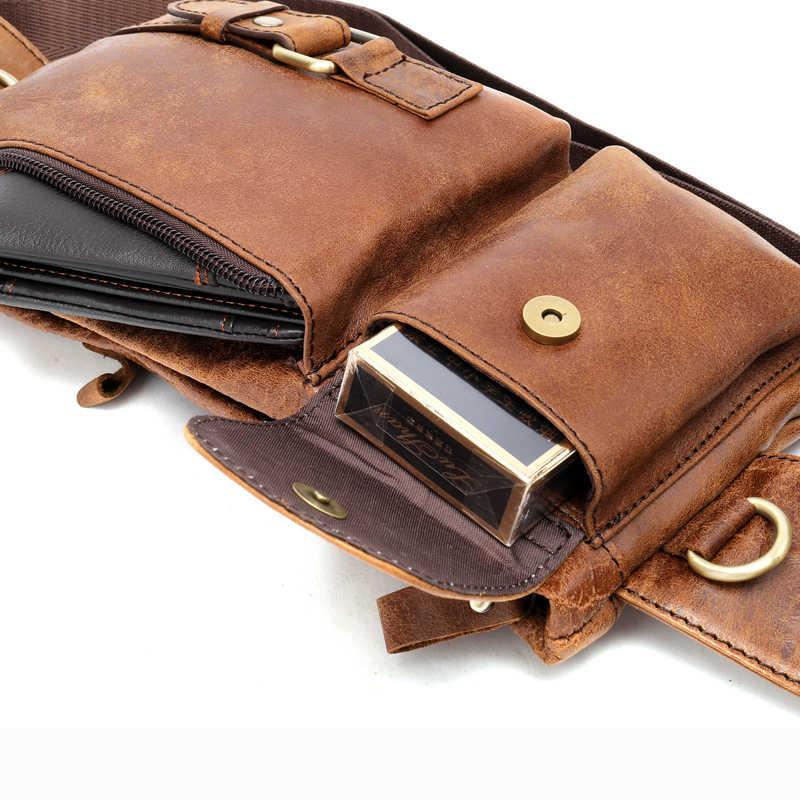 WESTAL Saco Do Mensageiro Dos Homens Sacos De Estilingue De Couro para Telefone/Sacos de Dinheiro dos homens de Couro Genuíno Viajar Pacote Peito Masculino sacos de ombro 9080