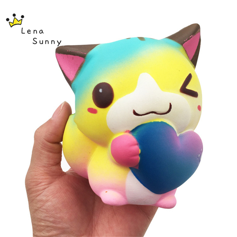 20PC Lot 12CM Jumbo Colorful Cat Squishy Slow Rising Cream Scented Toy Kawaii Cat Stress Relief