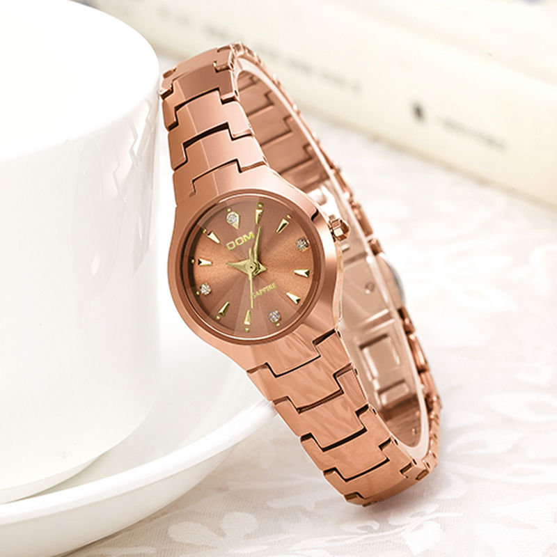 DOM 2016 Womens Watches Top Brand Tungsten Steel Watch Fashion Quartz Wristwatches Luxury Brand Watch For