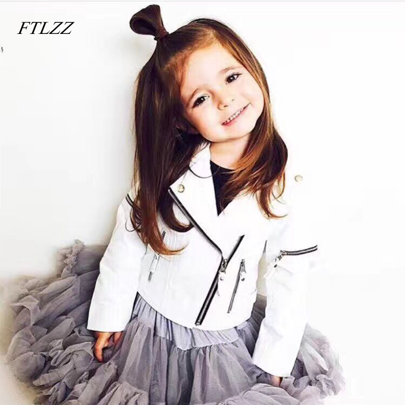 FTLZZ Spring Kids Jacket Pu Leather Girls Jackets Clothes Children Outwear For Baby Girls Boys Clothing Coats Costume Winter spring and autumn kids clothes pu leather girls jackets children outwear for baby girls boys zipper clothing coats costume 4 13y