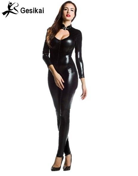 Women Front Zipper Turtleneck Catsuit Shiny Metallic Spandex Lycra Zentai Unitards Long Sleeved Halter Suits