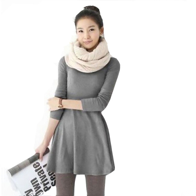 Fashion clothes women Autumn/winter Female dress spring cotton dresses O-neck long sleeve Grinding woolen mini casual dress IF02