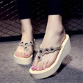 Summer Style Wedges Women Slippers Designer Flip Flops Thick Bottom Beach Slippers Women Shoes Bohemia Crystal Sandals Female 01