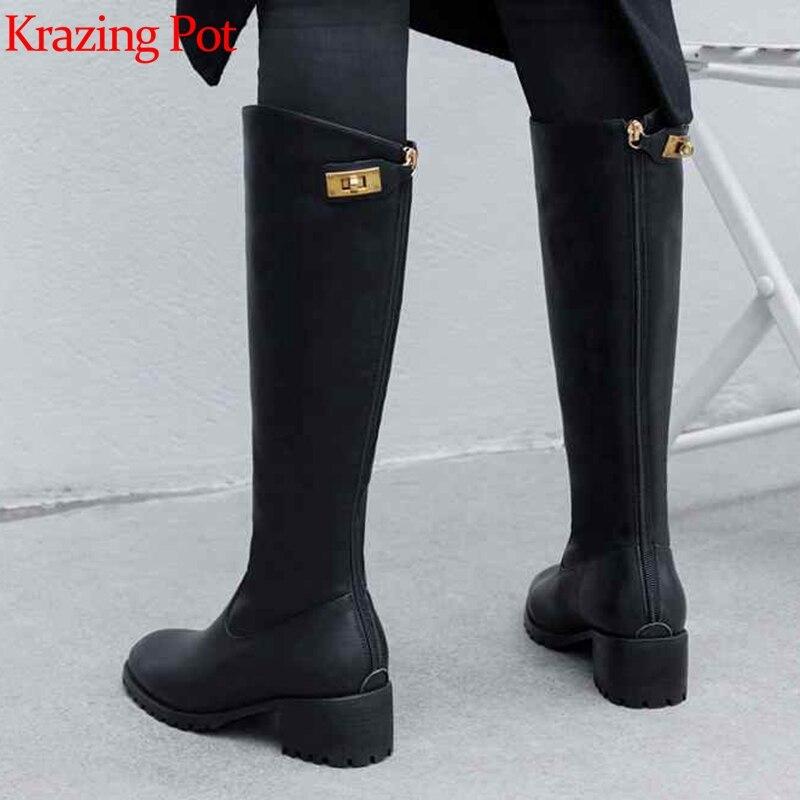 Krazing maceta nuevo streetwear zapatos de tacón de cuero genuino de invierno punta redonda Cierre de metal mantener caliente montar botas altas de muslo l33