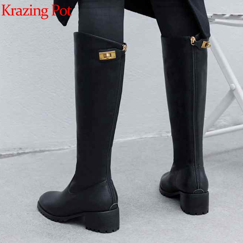 Krazing Pot New Streetwear Genuine Leather Med Heels Winter Round Toe Metal Lock Fasteners Keep Warm Riding Thigh High Boots L33