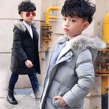2016 Fashion Children Duck Down Outerwear Boys Girls Winter Jacket Kids Coat With Fur Hood Long Winter Warm Thick Jackets 3-12T