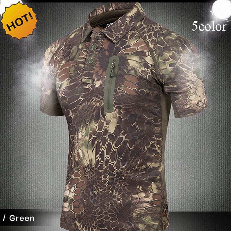 New 2018 Summer Turn-Down Collar Commando Tactical Army Cargo Military Camouflage Breathable Slim T Shirt Men Tops Zipper Pocket