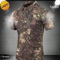 Novo 2016 Verão Turn-Down Collar Commando Tático Militar Camuflagem Do Exército de Carga Respirável Camisa Magro T Dos Homens Tops Zipper bolso